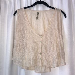 Free People Button Down Flowy Crop Top